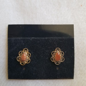 Goldstone Post Earrings